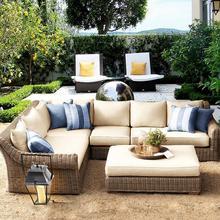 东南亚lm外庭院藤椅lg料沙发客厅组合圆藤椅室外阳台