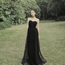 宴会晚ln服气质20fj式新娘抹胸长式演出服显瘦连衣裙黑色敬酒服