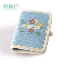 森系简ln(小)钱包女生dw式折叠布艺零钱袋帆布棉麻少女日系复古
