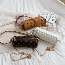 网红同ln滚筒包包女dy0新式潮个性圆筒印花包链条斜跨单肩水桶包