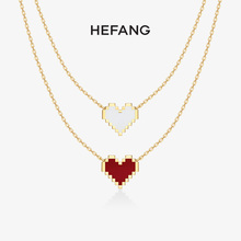HEFlnNG何方珠hq白K 18k金女钻石吊坠彩金锁骨链生日礼物