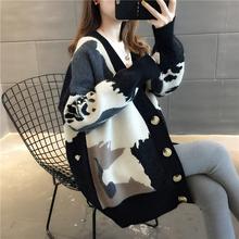 毛针织ln女开衫20qc季新式女装韩款春秋外套慵懒风毛衣宽松外搭