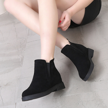 短靴女lo绒2020an新式磨砂皮坡跟单靴鞋厚底内增高平底棉靴子