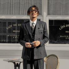 SOAloIN英伦风ho排扣男 商务正装黑色条纹职业装西服外套