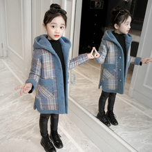 女童毛lo宝宝格子外gi童装秋冬2020新式中长式中大童韩款洋气