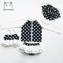 韩国可lo宝宝宝宝分gi女孩中大童长袖防晒游泳装比基尼四件套
