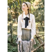 linloou玲玖法gi春2021雪纺长袖衬衣娃娃领蝴蝶结系带白衬衫女