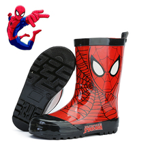 男童卡lo蜘蛛侠雨靴gi水卡通幼儿套鞋(小)孩学生胶鞋