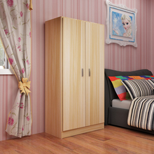简易衣lo实木头简约gi济型省空间衣橱组装板式折叠宿舍(小)衣柜