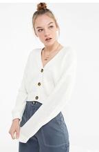 欧美单lo时髦复古纽gi短式(小)宽松落肩灯笼袖针织衫开衫毛衣