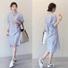 韩国2lo20夏季薄ch条纹中长式韩款宽松短袖衬衫连衣裙七分袖潮