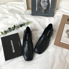 (小)sulo家韩国ulchng英伦风女鞋黑色(小)皮鞋简约百搭平底单鞋2020春