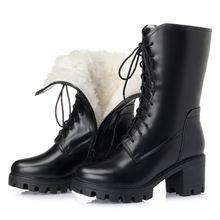 高档正lo全牛皮羊毛om皮毛一体雪地靴粗跟厚底加绒马丁靴中筒