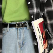 黑色皮lo女简约百搭mans潮复古学生时尚裤带ulzzang细腰带BF风