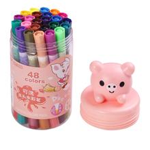 天好可lo熊双头双色ma童用(小)学生用12色24色48色36色可选可水洗绘画笔初学