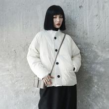 SIMloLE BLma 日式美学简约呢料拼接白色韩款女士保暖羽绒服 潮衣