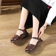 夏季新lo真牛皮休闲en鞋时尚松糕平底凉鞋一字扣复古平跟皮鞋