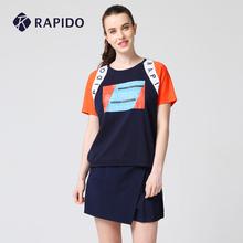 RAPloDO 韩国en女士健身棉质拼接休闲圆领运动短袖T恤女夏季