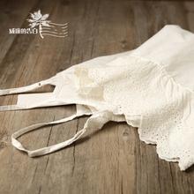 包邮6lo53森林系cz丝边内搭米白色吊带裙刺绣打底裙森女连衣裙