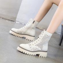 [losni]真皮中跟马丁靴镂空短靴女