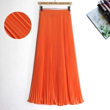 夏季新式雪纺半身裙纯色lo8腰显瘦仙ni大摆百褶长裙女沙滩裙