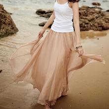 春夏季lo身长裙波西to地长裙子度假大摆沙滩仙女裙雪纺半身裙