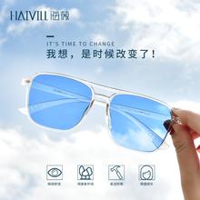 海薇变lo眼镜蓝色自yf太阳眼镜女士防紫外线墨镜男潮可配近视