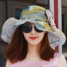 夏季薄lp透气雪纺大jx滩太阳帽凉帽女士海边遮阳帽防晒帽子女