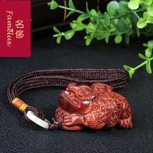 (小)叶紫檀金蟾送宝手把件实木挂件木雕红lq15文玩手jiWL1203