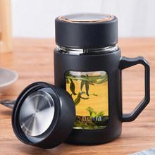 创意玻lq杯男士超大ji水分离泡茶杯带把盖过滤办公室喝水杯子