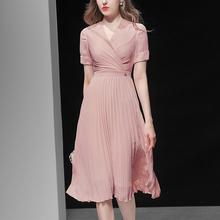夏季女lq2020新ok性感收腰雪纺长裙短袖显瘦中长式连衣裙裙子