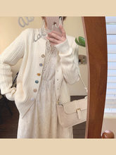 mimlqus201gw新式圆领开衫外套女针织甜美女生百搭气质毛衣上衣