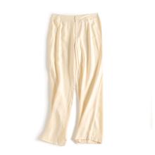 新式重ls真丝葡萄呢dv腿裤子 百搭OL复古女裤桑蚕丝 米白色