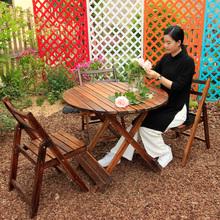 户外碳化桌ls防腐实木桌io阳台桌椅休闲桌椅餐桌咖啡折叠桌椅