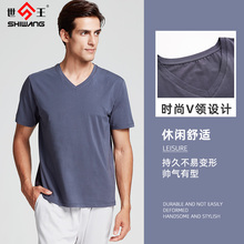 世王内ls男士夏季棉cb松休闲纯色半袖汗衫短袖上衣