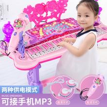 宝宝电lt琴女孩初学cn可弹奏音乐玩具宝宝多功能3-6岁1