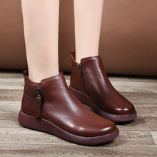 真皮短lt2021春xn厚底文艺复古牛筋底软底圆头马丁靴牛皮女鞋