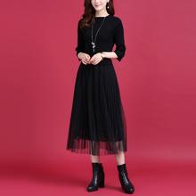 秋冬新lu百褶网纱拼ui针织连衣裙女气质蕾丝裙修身中长式裙子