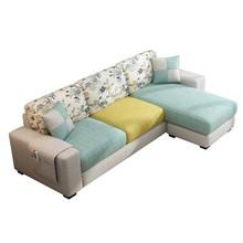 布艺沙lu(小)户型现代ui厅家具转角组合可拆洗出租房三的位沙发