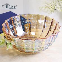 欧式时尚水晶玻璃水lu6盘现代客ui用茶几果盘糖果盆窗户果斗