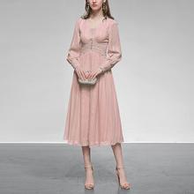 粉色雪lu长裙气质性ui收腰中长式连衣裙女装春装2021新式