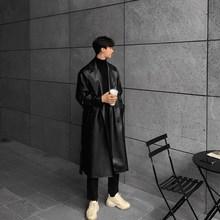 原创仿lu皮春季修身bo韩款潮流长式帅气机车大衣夹克风衣外套
