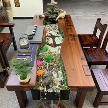 实木根lu刻茶几茶桌bo茶室客厅现代简约整体木头户外茶馆会客