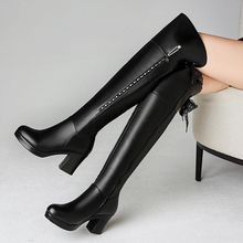 冬季雪lu意尔康长靴in粗跟真皮中跟圆头长筒靴皮靴子