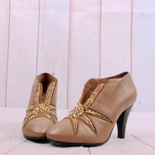 民族风lu头高跟细跟un珠羊皮真皮女鞋子女靴子短靴X112-2