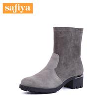 Safluya/索菲un商场同式绒面羊皮圆头粗跟短筒女靴SF84116059