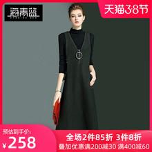 海青蓝lu021春装ud美纯色V领背心裙女修身百搭毛呢连衣裙2455