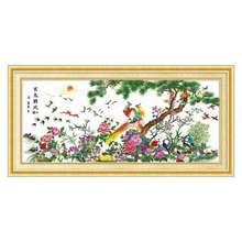 202lu最新式十字wu朝凤客厅沙发背景的工绣好的成品风景山水画