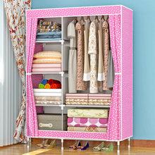 简易布lu柜钢管加粗en纳单的衣柜宿舍布艺衣橱简约现代经济型