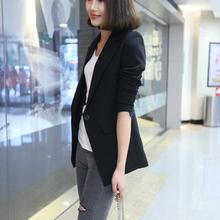修身女lu(小)西装20in季新式休闲职业韩款中长式(小)西装外套面试装